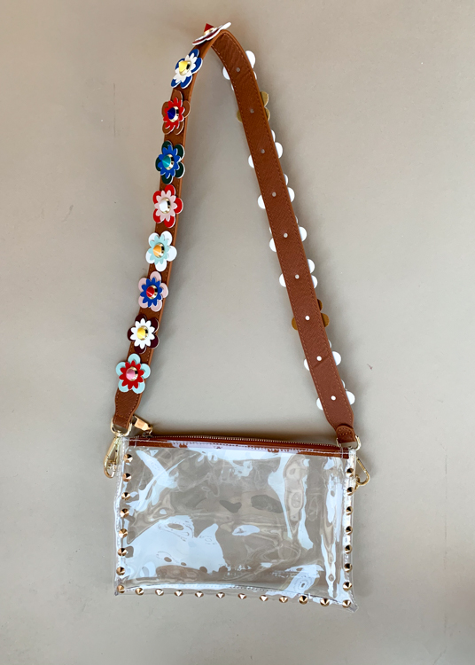 Clearly Flower Multi Saddle Bag Strap-Hand In Pocket