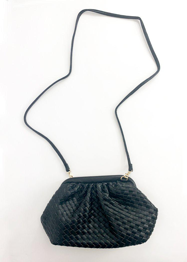 Leona Slouchy Woven Pouch Crossbody - Black-Hand In Pocket