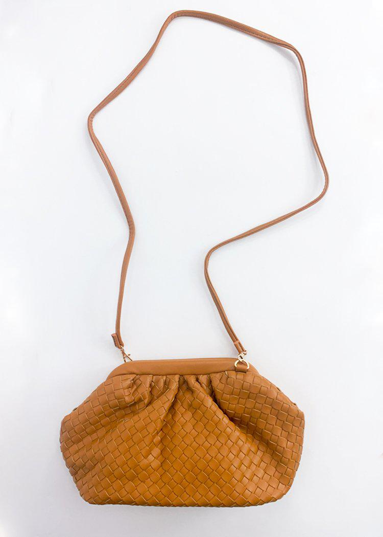 Leona Slouchy Woven Pouch Crossbody - Tan-Hand In Pocket