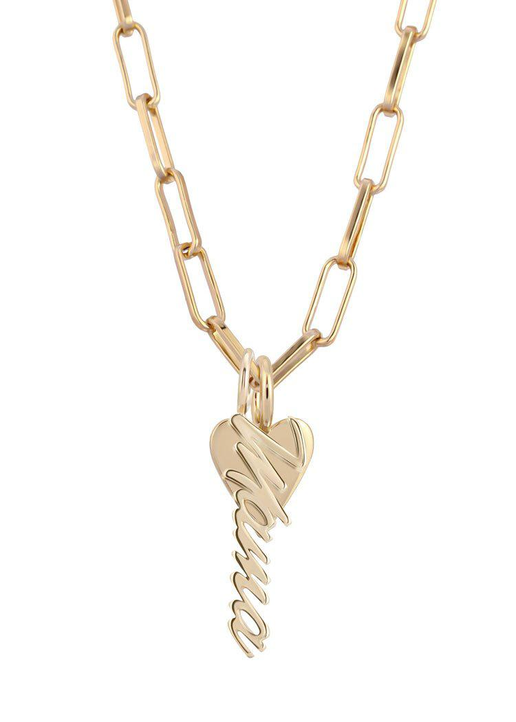 "Eklexic Mara ""Mama"" Charm Necklace-Gold-Hand In Pocket"
