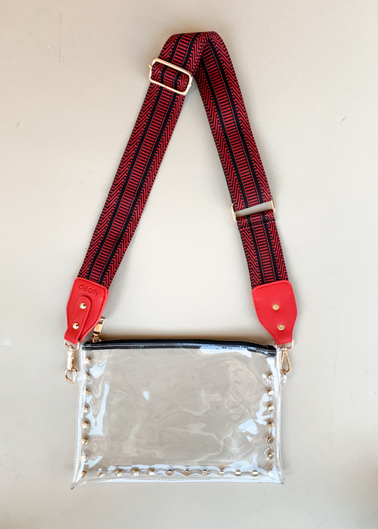 Clearly Red Ribbon Bag Strap-Hand In Pocket