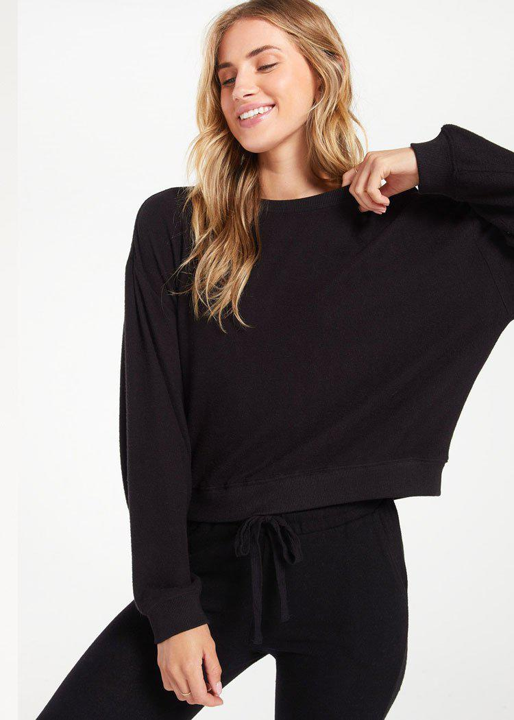 Z Supply Noa Marled Pullover-Black-Hand In Pocket