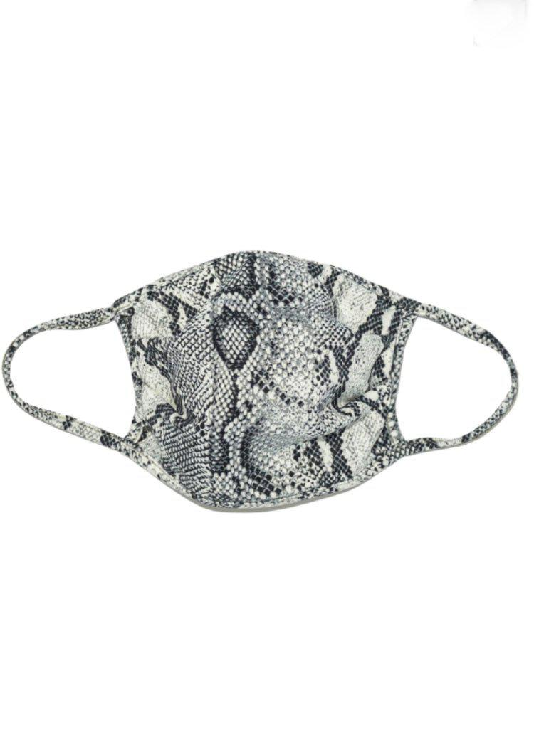 Snake Print Washable Face Mask-Grey-Hand In Pocket
