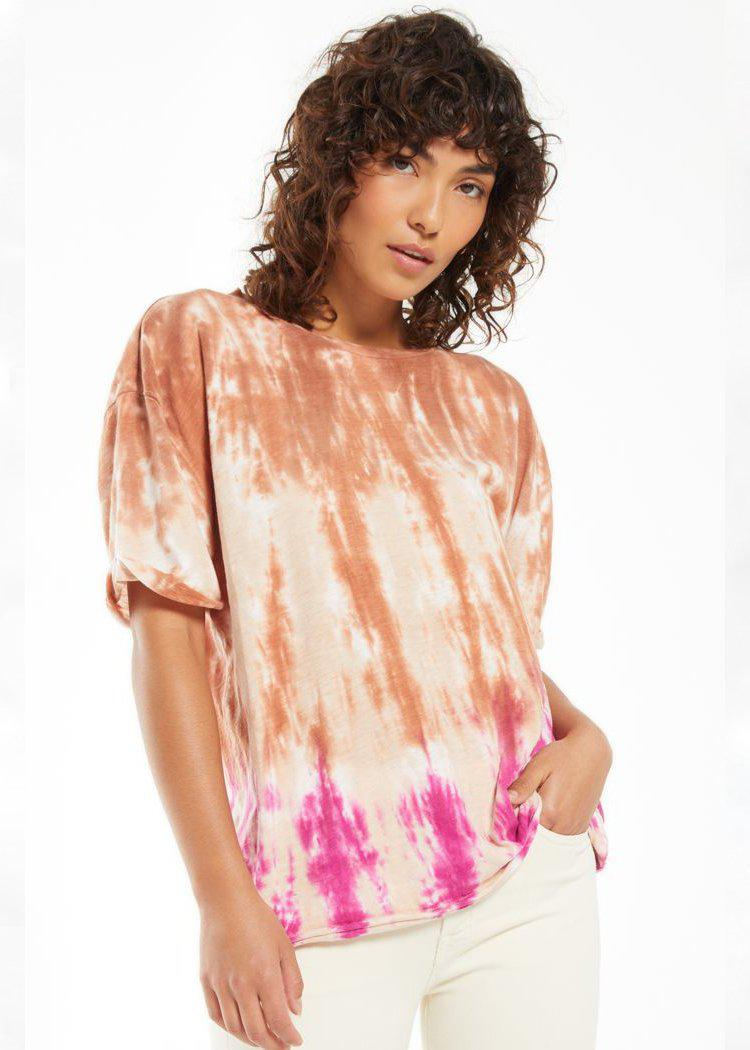 Z Supply June Sorbet Skies Tie Dye Tee-Hand In Pocket