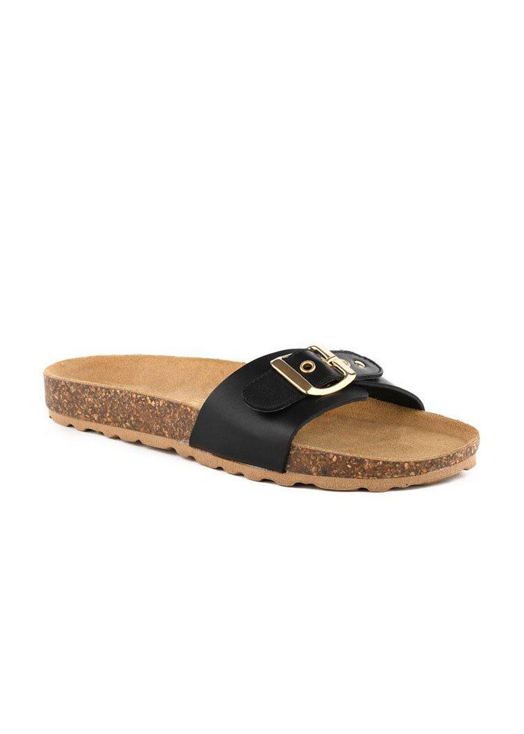 Seychelles Speechless Leather Single Band Sandal - Black-Hand In Pocket