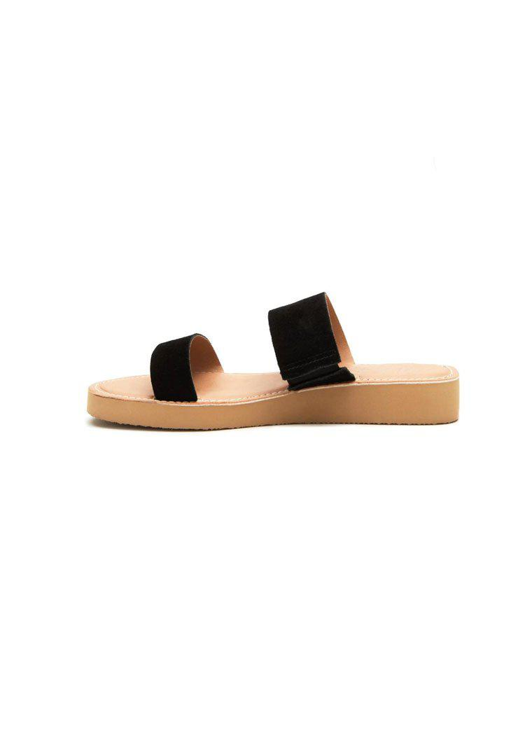 Matisse Tees Double Strap Suede Mini Platform Sandal - Black-Hand In Pocket