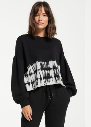 Z Supply Tempest Tie Dye Stripe Sweatshirt-Hand In Pocket