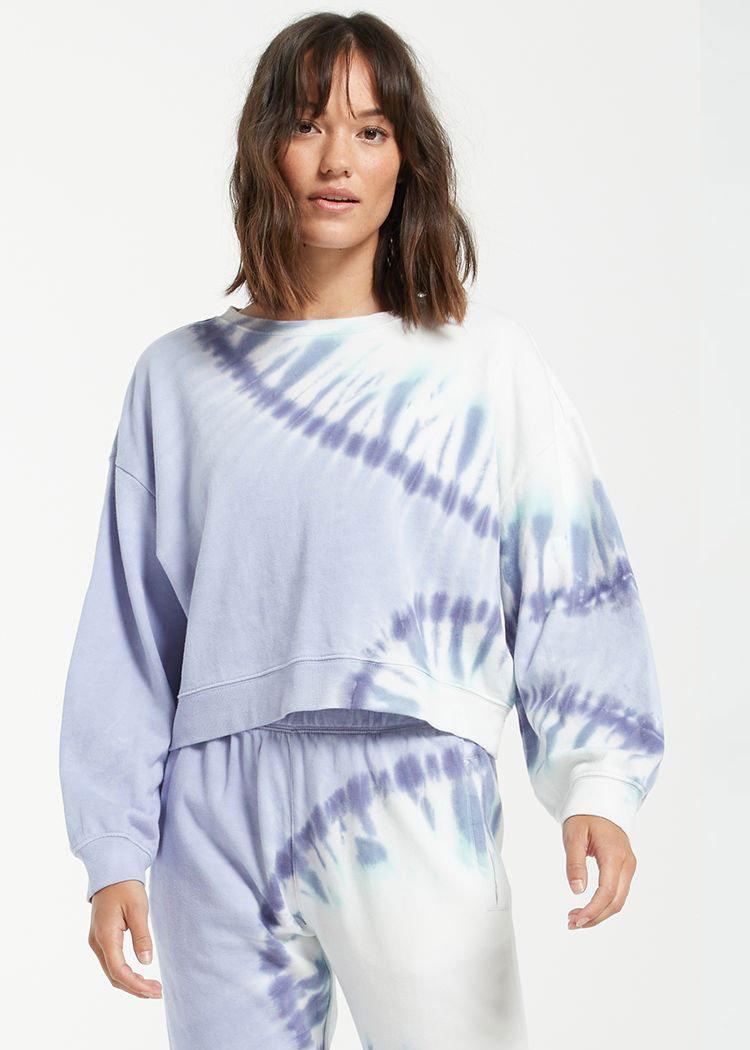 Z Supply Sunburst Tie Dye Sweatshirt-Hand In Pocket