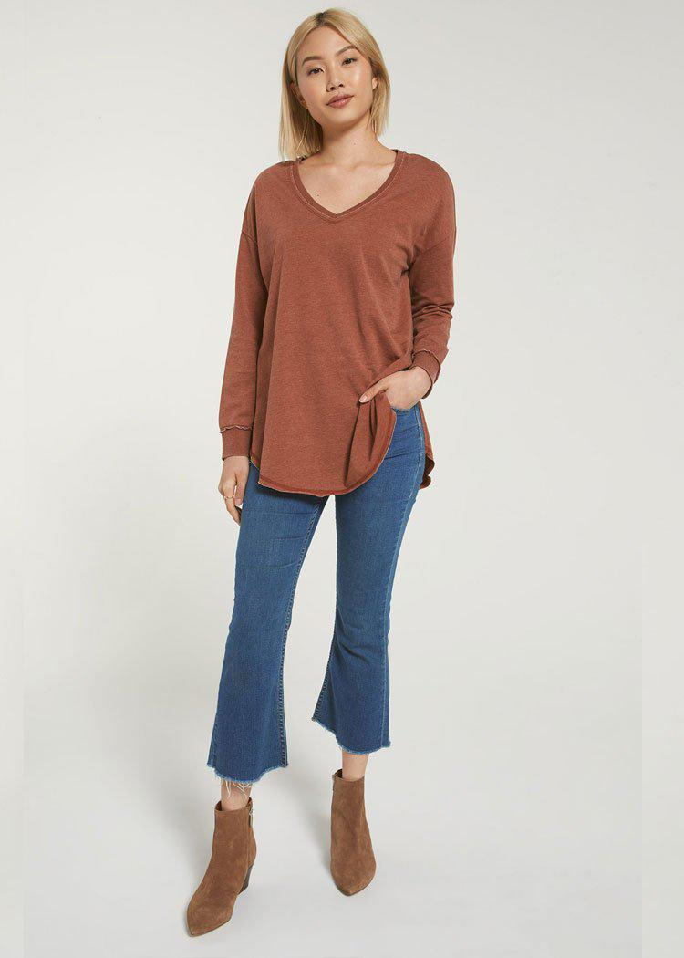 Z Supply The V Neck Weekender Pullover - Whiskey-***PREORDER***-Hand In Pocket