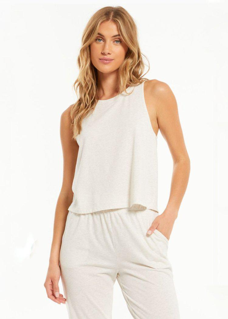 Z Supply Wake Up Call High Neck Tank - Light Oatmeal-Hand In Pocket