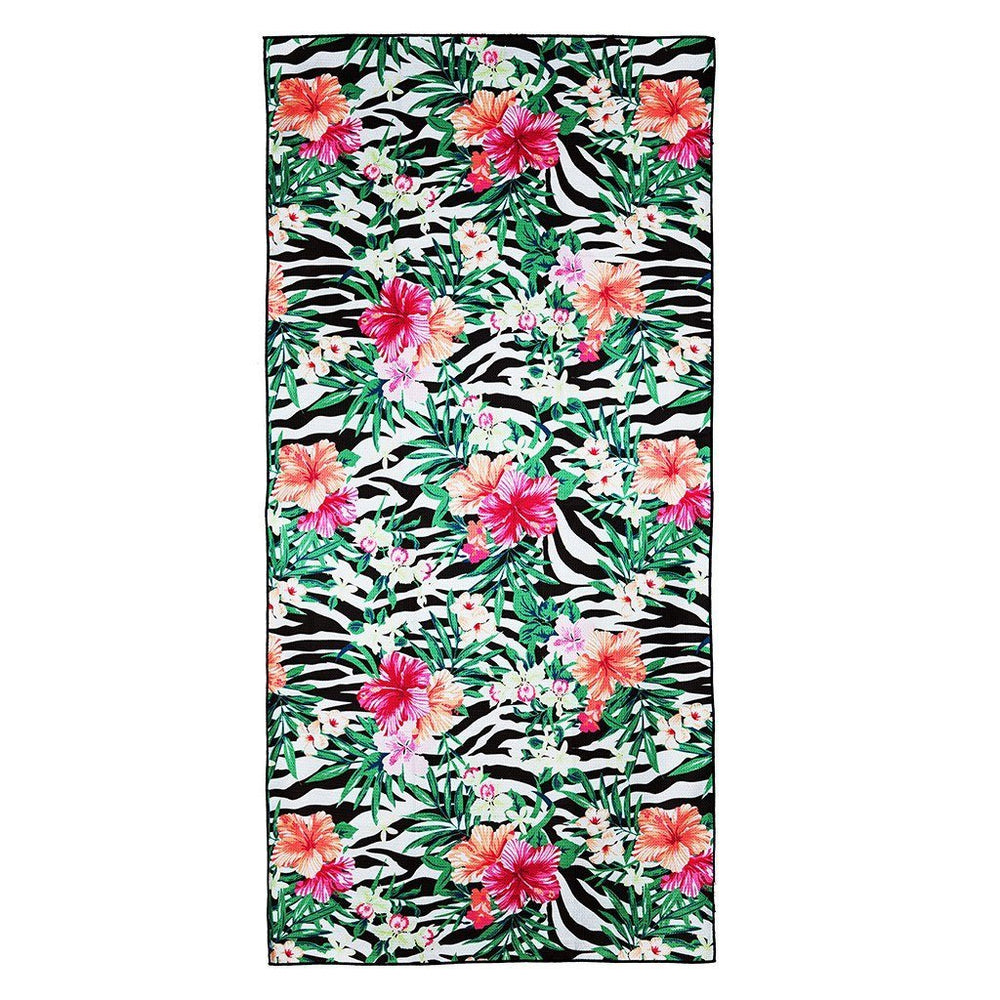 Zissou - beach towel with pink and orange flowers and a zebra pattern background