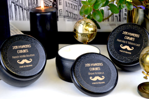Two wick black tin - Moustache