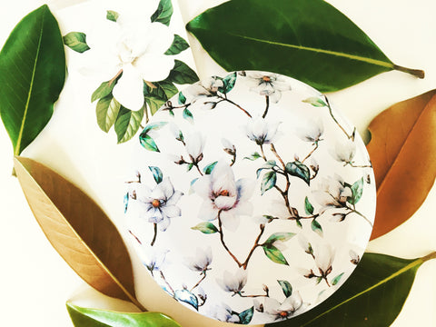 Magnolia Pattern Tin Candle
