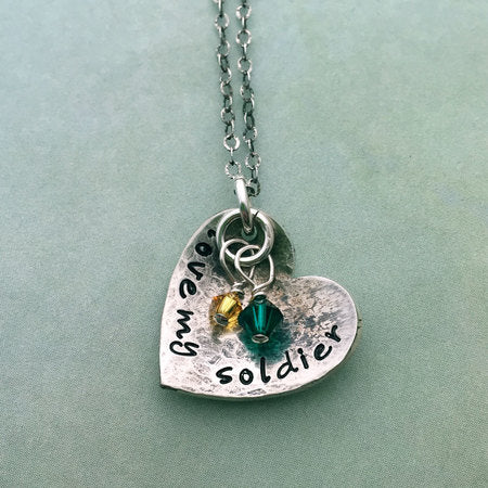 Love My Soldier Silver Heart Necklace Quotes From My Heart