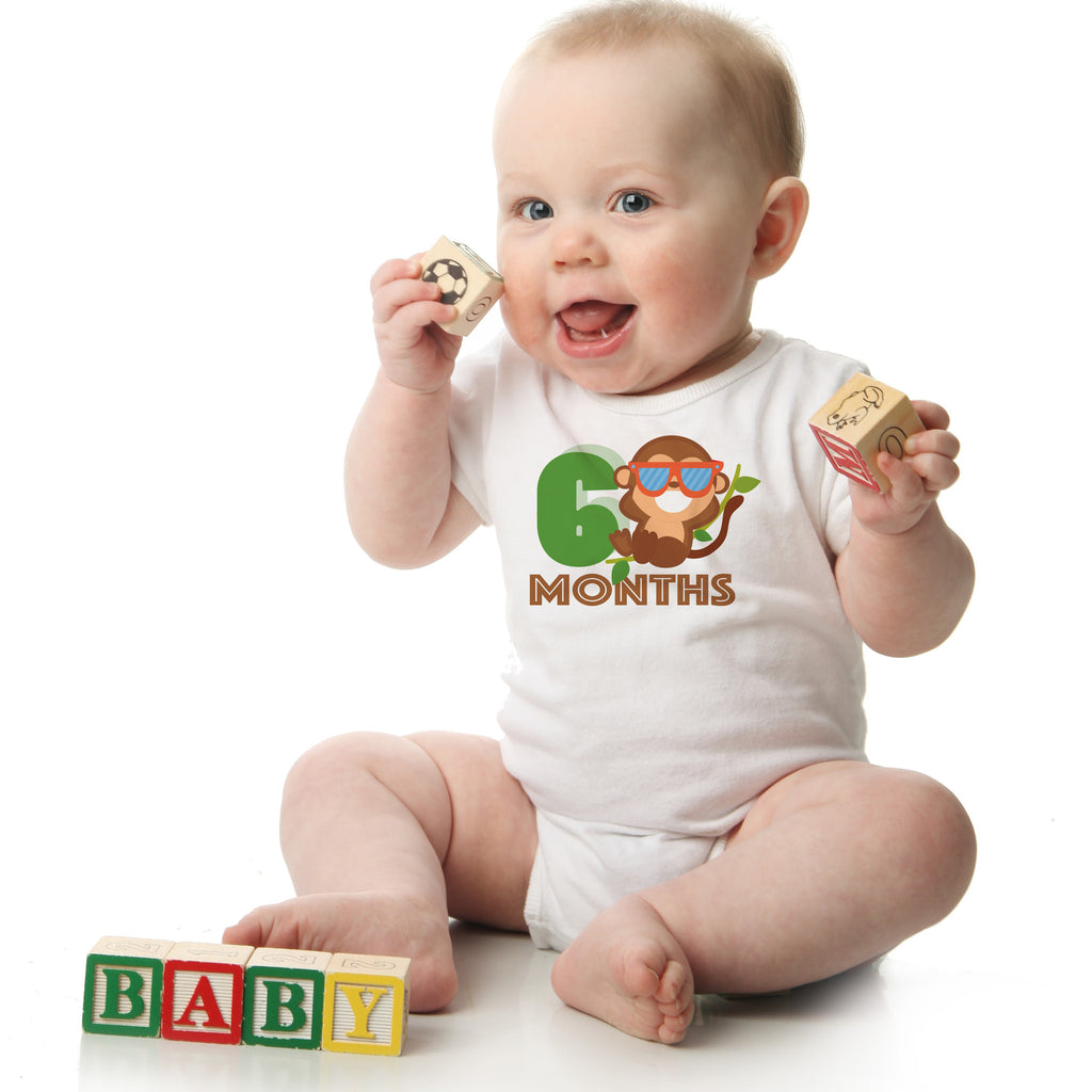 fa1700701 Monkey Monthly Baby Onesies, 12 Month Set – Peanut and the Owl
