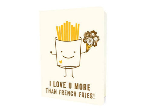 French Fries Letterpress Love Card