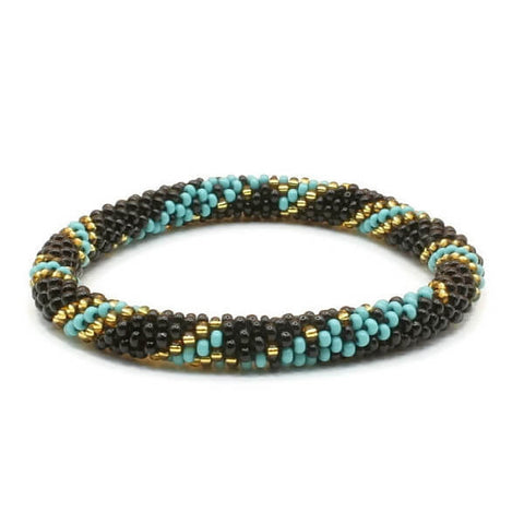 Liftedhope Bracelets  - Black Teal And Gold Beaded Bracelet