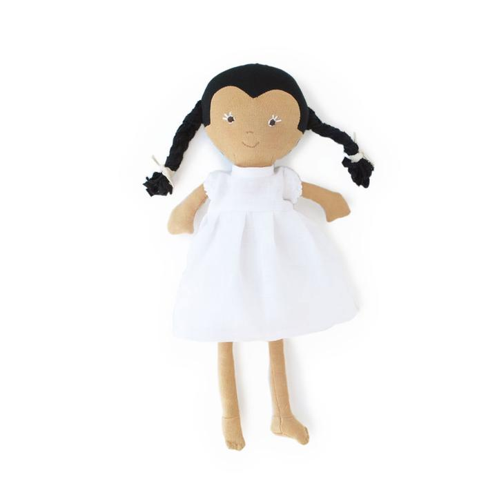 Celia Doll - White Linen Dress