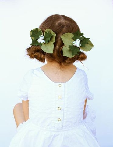 Holly Berries Hair Clip - White