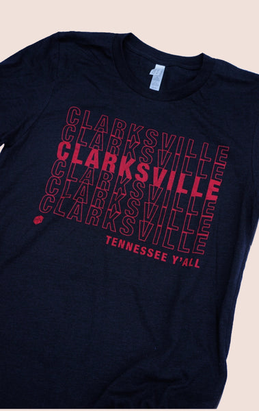 Clarksville Y'all Tee - Black & Red