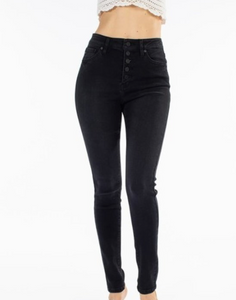 Elena Black Button Fly High Rise Jeans