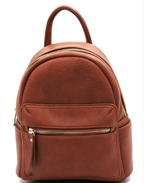 Mini Vegan Leather Backpack - Brown