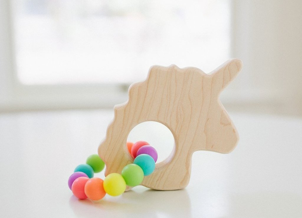 Wooden Baby Teether - Unicorn