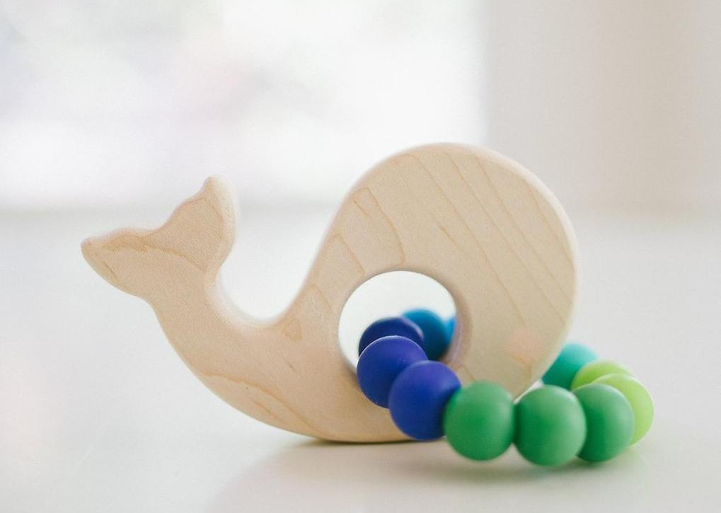 Wooden Baby Teether - Whale
