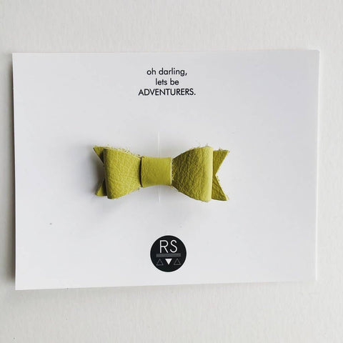 Leather Bow - Green Apple
