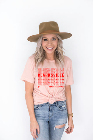 ***Preorder*** Clarksville Y'all Women's Tee - Apricot