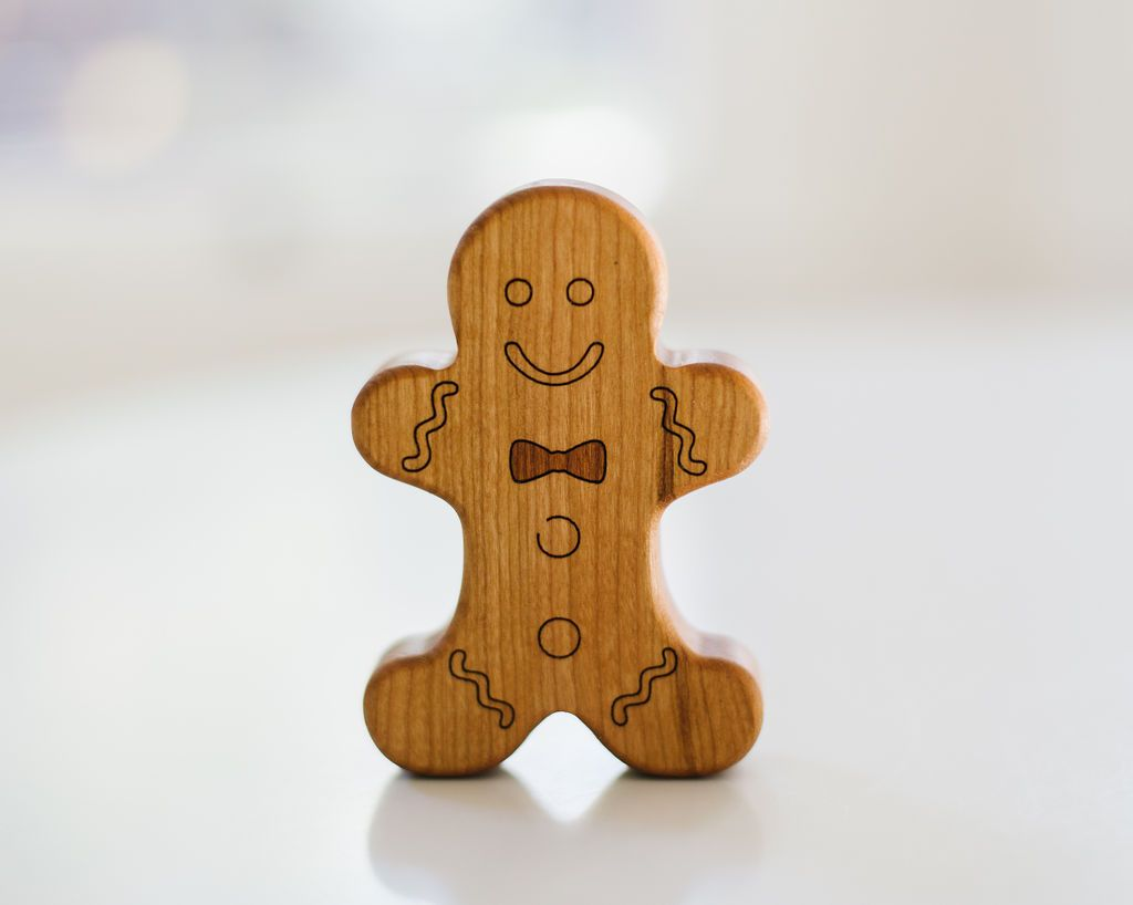 Wooden Baby Rattle - Gingerbread Boy
