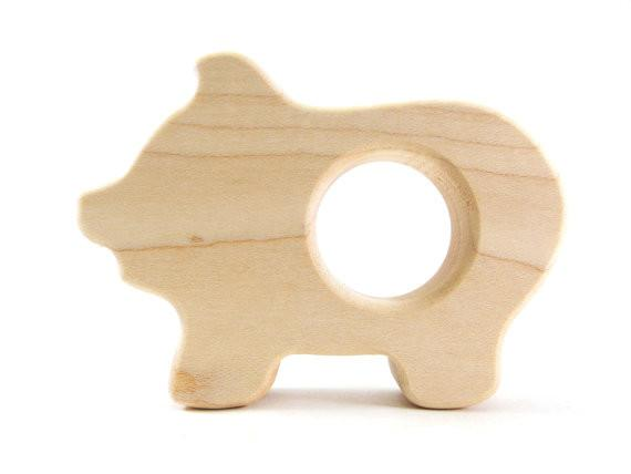 Wooden Baby Teether - Pig