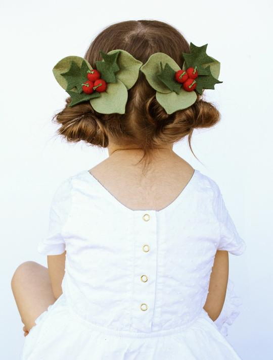 Holly Berries Hair Clip - Red