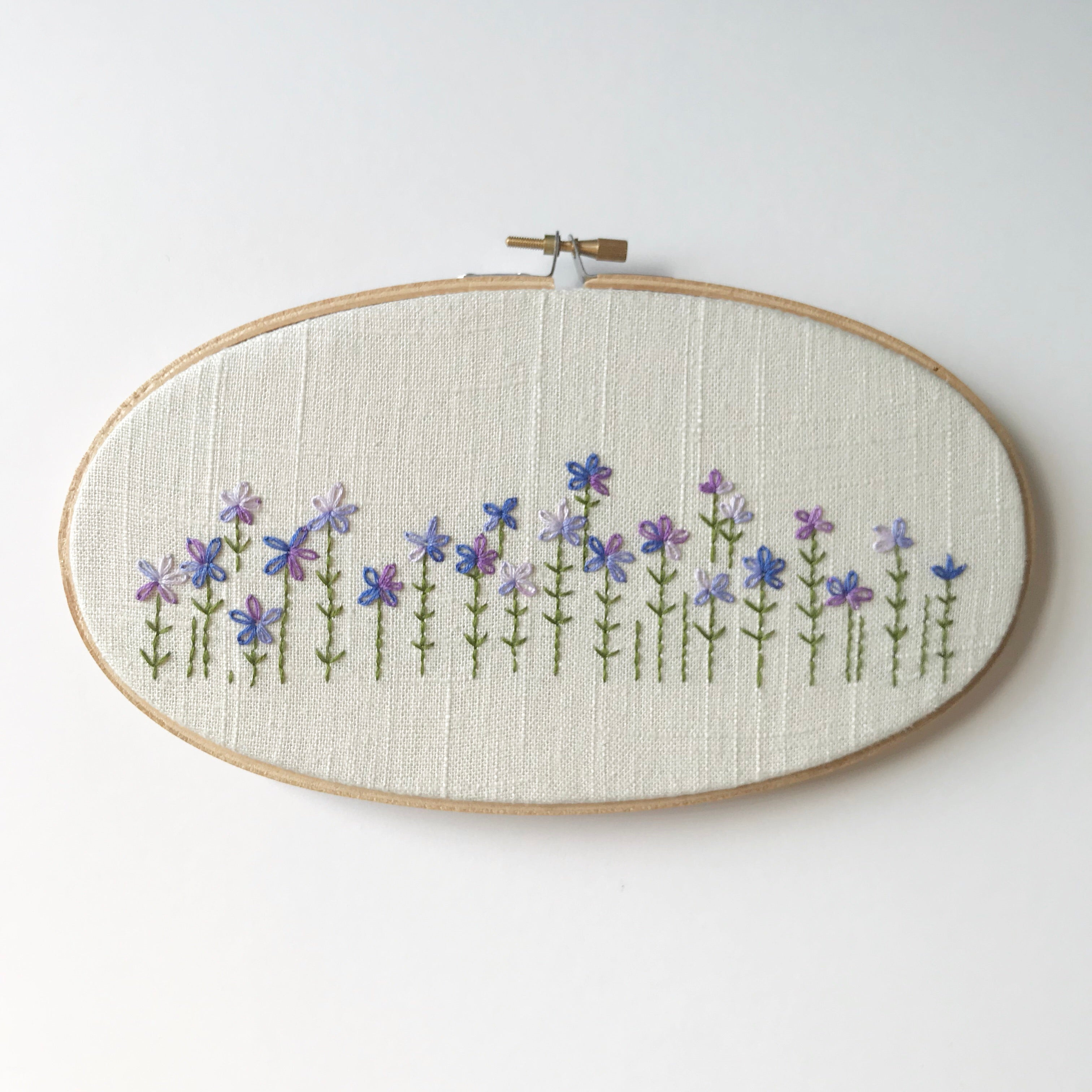 "EMBROIDERY HOOP - 4"" X 9"" PURPLE WILDFLOWERS"