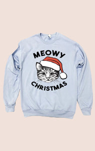 Meowy Christmas Sweatshirt - Pale Blue