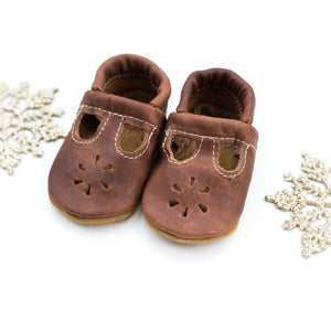 Leather Baby T-Straps - Brandy