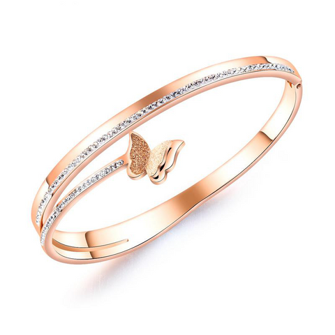 Butterfly Rose Gold Bangle with Crystals for Women and Girls
