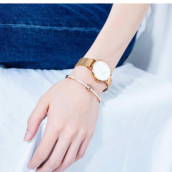 Love Forever Rose Gold Crystal Bangle Bracelet for Women and Girls