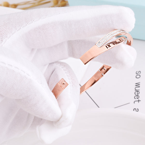 Crystal Numerals Rose Gold Bangle for Women and Girls