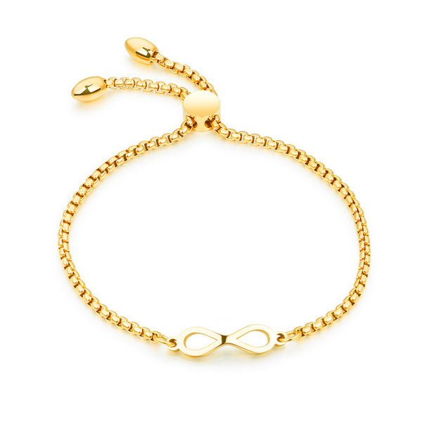 Infinity Slider Bracelet with Box Chain Design (Silver/Rose Gold/Gold)