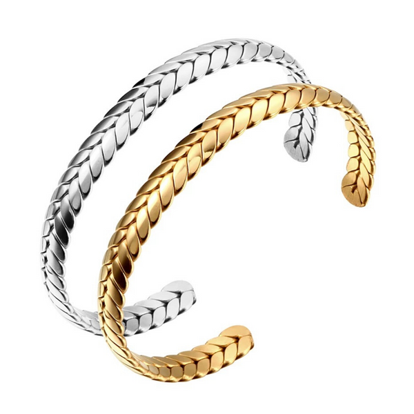 Gold and Silver Braided Steel Cuff Bracelets for Women and Girls