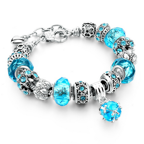 Ocean Blue Silver Charm Bracelet for Women and Girls