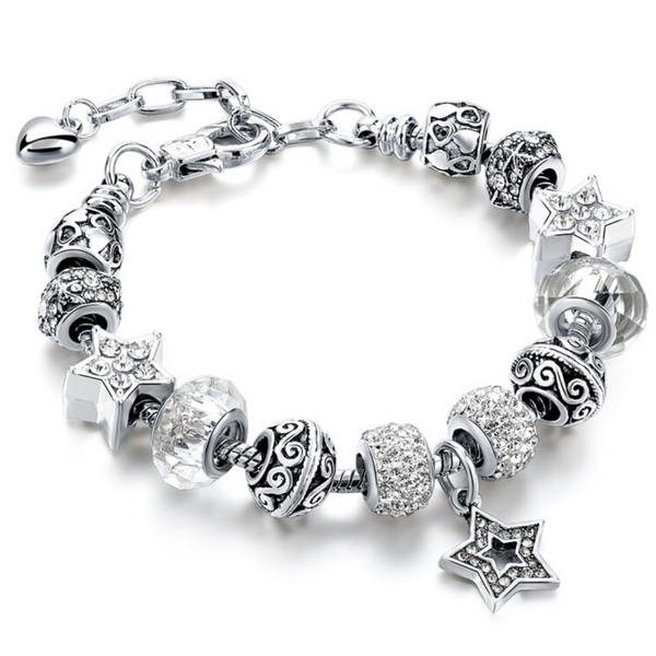 Silver Crystal Star Charm Bracelet for Women and Girls