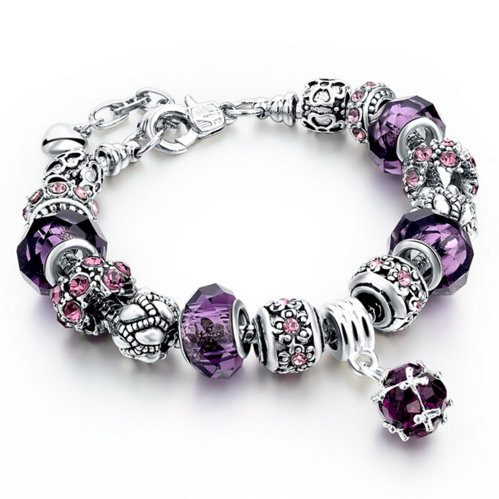 Purple Theme Silver Charm Bracelet for Women and Girls