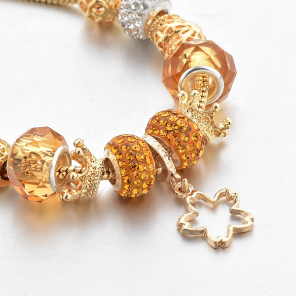 Crown and Leaf Charm Bracelet for Women and Girls