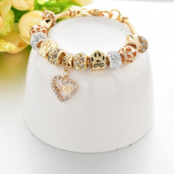 Mom's Heart Gold Charm Bracelet for Women and Girls
