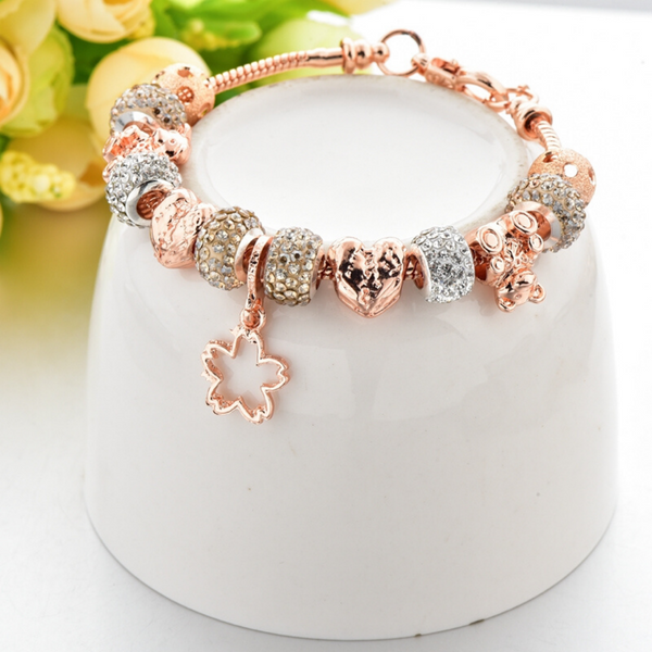Rose Gold Leaf Charm Bracelet for Women and Girls