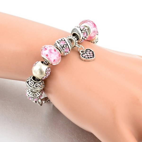 Pink Hearts Silver Charm Bracelet for Women and Girls