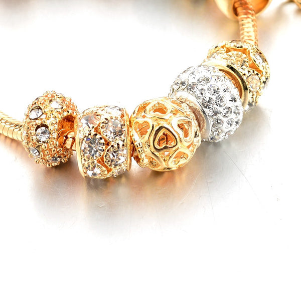 Crystal Heart of Gold Charm Bracelet for Girls and Women