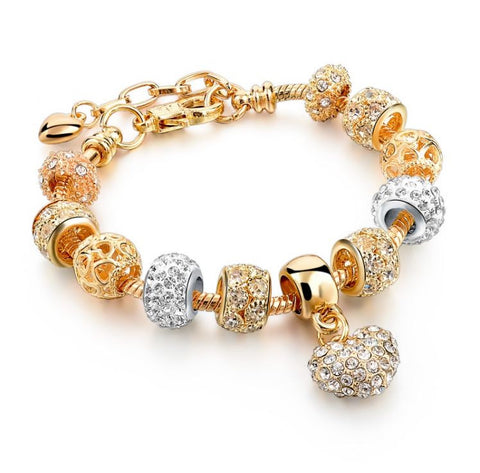 Crystal Heart of Gold Charm Bracelet for Women and Girls
